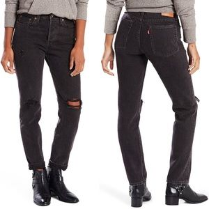 Levi's selvedge wedgie icon black crop mom jeans